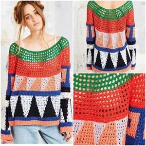 Free People Modern Art Geometric Crochet Sweater